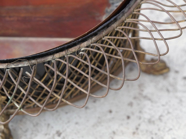 19th Century French Wire Demilune Jardiniere For Sale 2