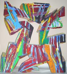 "Charles Arnoldi 'Chuck"" acrylic painting on plywood/  wall sculpture,signed."