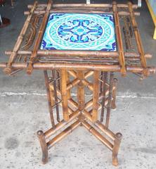 Longwy ceramic,tile  table/pedestal,in bamboo ,Art Nouveau Japanerie.