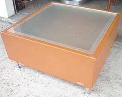 Mascheroni Side or Coffee Cocktail Table, Frosted Glass Top, Leather and Chrome