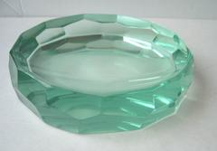 Erwin Walter Burger Faceted Small Glass Bowl, Fontana Arte, Signed, Kunstglas