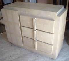 R & Y Augousti chest of drawers / cabinet in shagreen, stamped