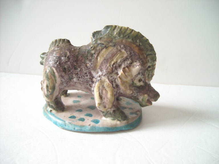 Modern Guido Gambone Ceramic/Pottery, Boar, Sculpture Stamped Signed Donkey Mark For Sale