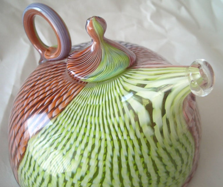 American Richard Marquis Studio Teapot Glass Sculpture, Signed, Dated For Sale