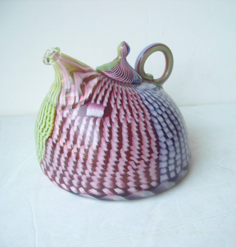 Late 20th Century Richard Marquis Studio Teapot Glass Sculpture, Signed, Dated For Sale