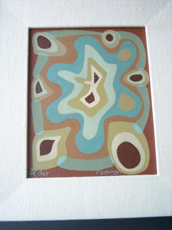 Oskar Fischinger Oil Painting on Canvas/Board, Signed, Dated, Chop In Excellent Condition For Sale In Los Angeles, CA