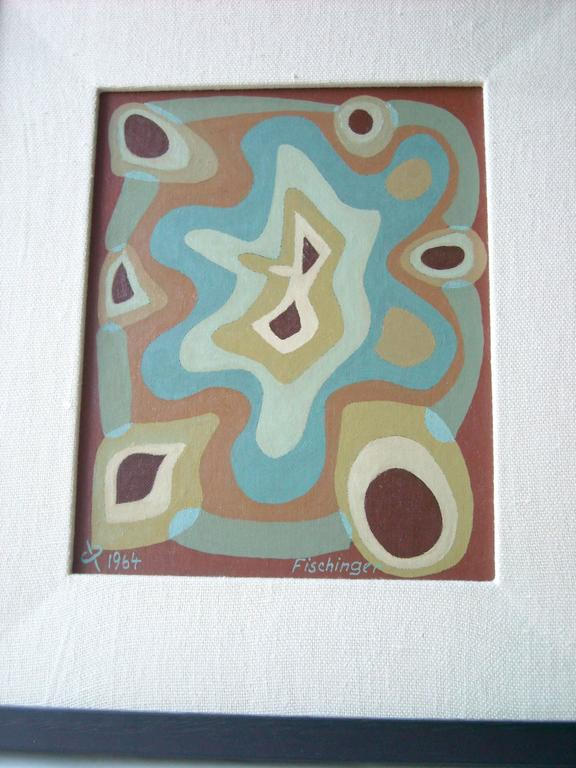 Modern Oskar Fischinger Oil Painting on Canvas/Board, Signed, Dated, Chop For Sale