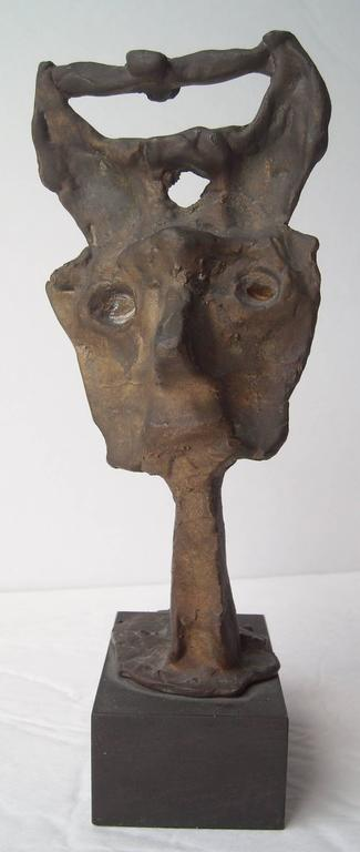 Cast Emerson Woelffer Bonze  Sculpture, Abstract Face, Signed, Dated, Numbered For Sale