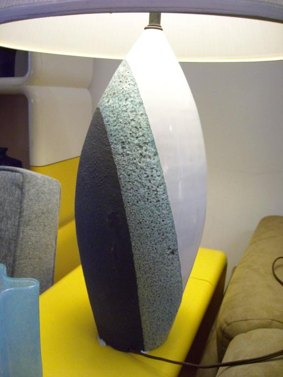 Modern  Pair,of Ettore Sottsass Lava Glaze Ceramic Table Lamps for Bitossi For Sale
