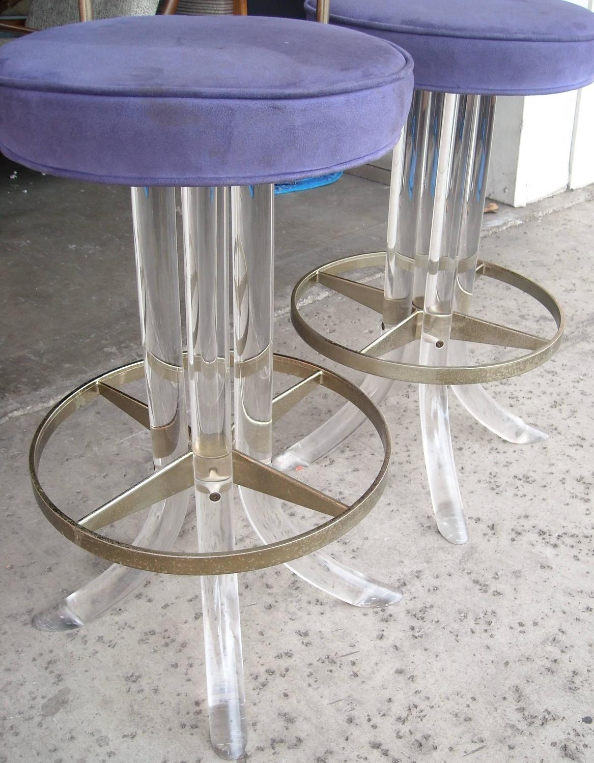 Pair Of Swivel Lucite Metal Bar Stools Attributed To