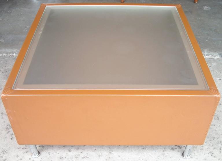 Modern Mascheroni Side or Coffee Cocktail Table, Frosted Glass Top, Leather and Chrome For Sale