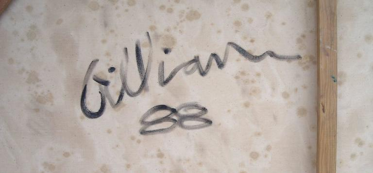 Just an amazing and beautiful sample of Ed Gilliam abstract work. Signed and dated in back, Gilliam 88. Has a vintage thin frame.