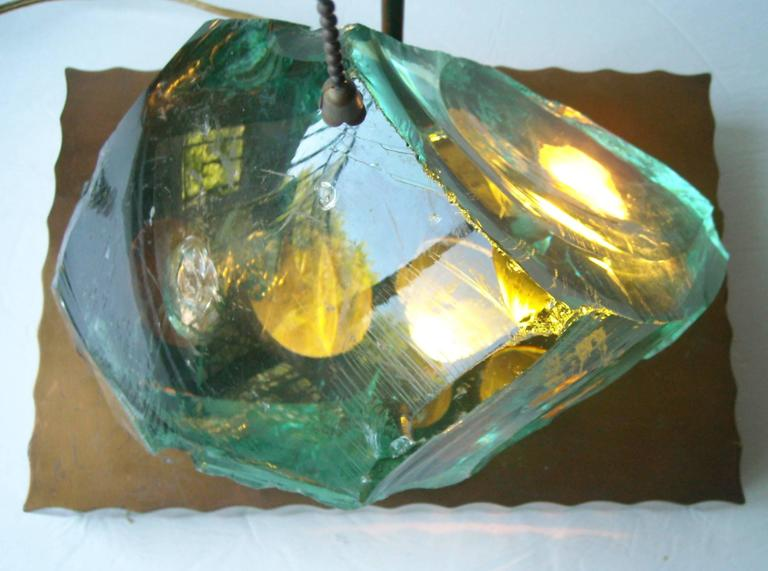 Glass Table Lamp in the Style of Max Ingrand, with Brass Finish Led Base 2