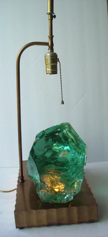 Glass Table Lamp in the Style of Max Ingrand, with Brass Finish Led Base 3
