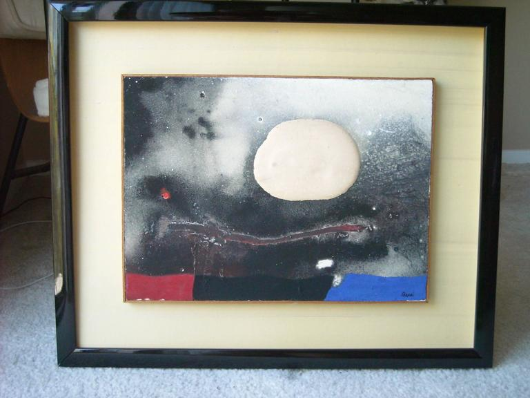 Edmondo Bacci Abstract Mixed Media Painting, Board Signed and Framed 6