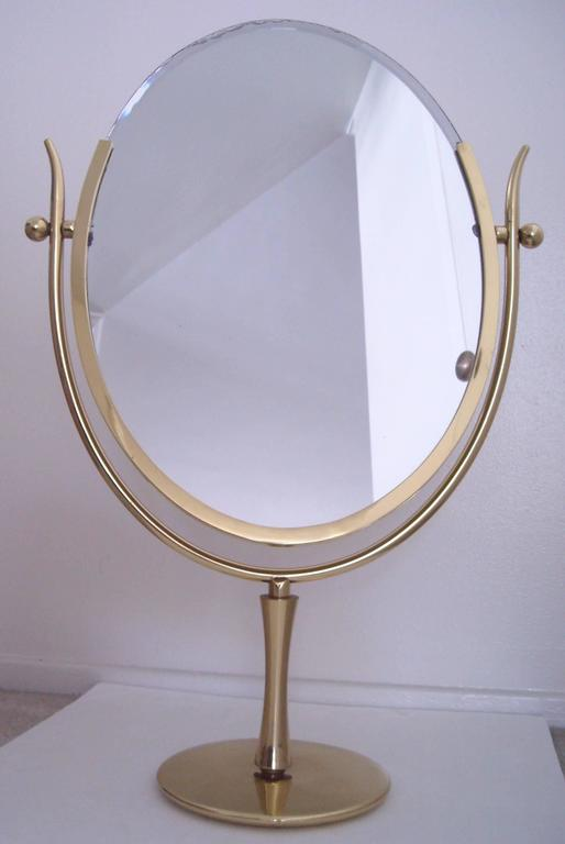 "Charles Hollis Jones ""Wishbone"" vanity brass mirror. 3"