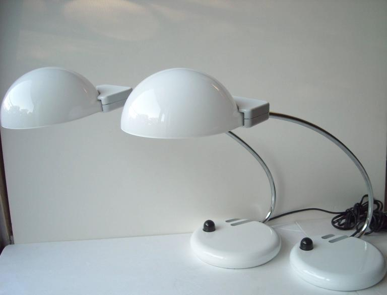 Pair of Bruno Gecchelin, Glass, Table or Desk Lamps for O-Luce, Dogale For Sale 1