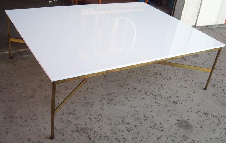 Paul McCobb Large Vitrolite White Milk Glass Coffee or Cocktail Table 3