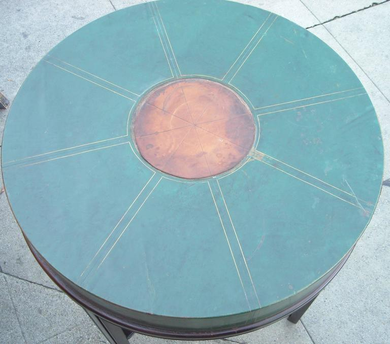 Tommi Parzinger for Charak, Side Occasional Round Leather Table, Leather 3