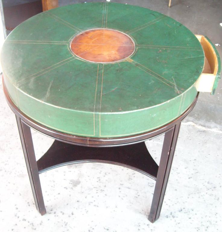 Tommi Parzinger for Charak, Side Occasional Round Leather Table, Leather 7