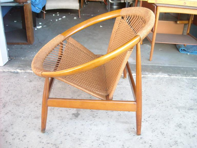 "Illum Wikkelso ""Ringstol"" Ring Chair, Rope, Walnut 4"