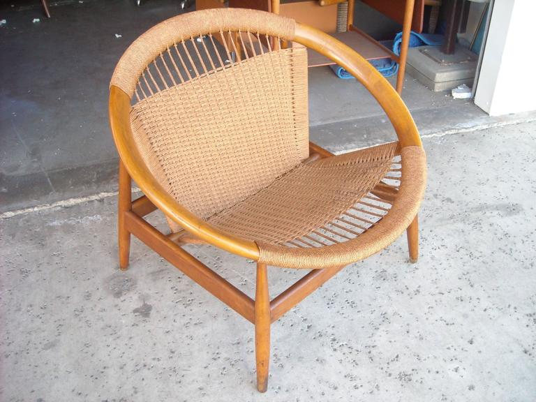 "Illum Wikkelso ""Ringstol"" Ring Chair, Rope, Walnut 5"