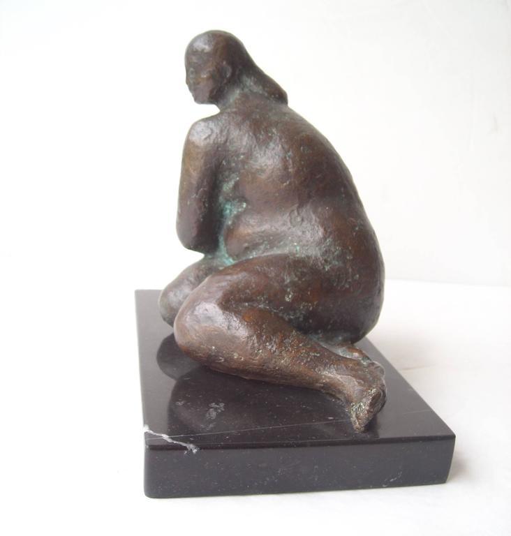 Felipe Castaneda Bronze Sculpture on Marble Base, Signed, Dated 3