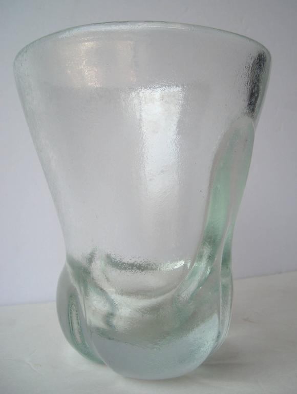 """Calo Scarpa """"Corroso Vase"""" by Venini Murano Glass, Signed 5"""