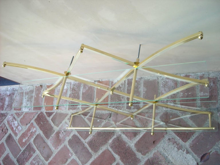 "Charles Hollis Jones ""Rare"" Wall Brass Shelves and Glass "" Treillage"" 6"