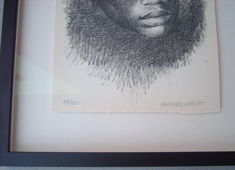 "Charles White Lithograph ""Head"", signed and numbered 3"