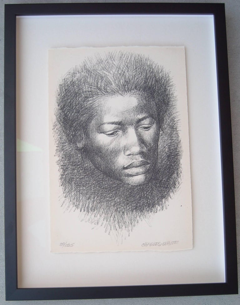 "Charles White Lithograph ""Head"", signed and numbered 4"