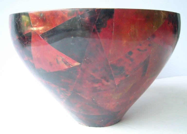 Post-Modern R & Y Augousti Centrepiece, Parchment, Bowl, Red Black, Lacquered, Stamped For Sale