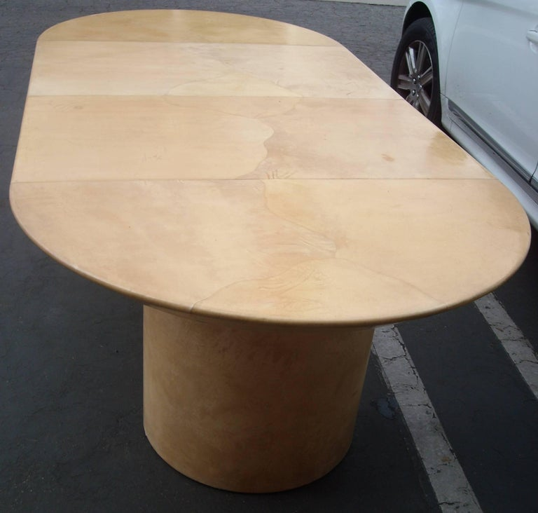 Post-Modern Karl Springer Style Lacquered Goatskin, Pedestal Dining Table, Two Leafs For Sale