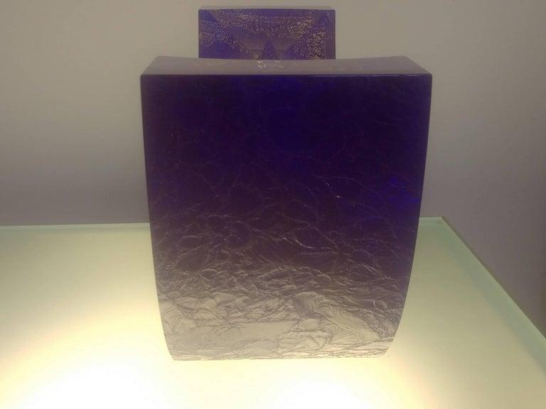 Post-Modern Steven Weinberg Blue Boat Glass Sculpture, Signed For Sale