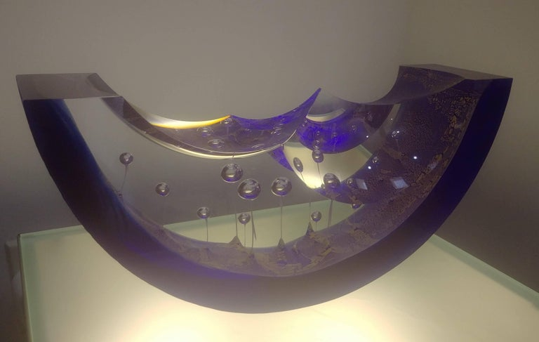 Steven Weinberg Blue Boat Glass Sculpture, Signed 8