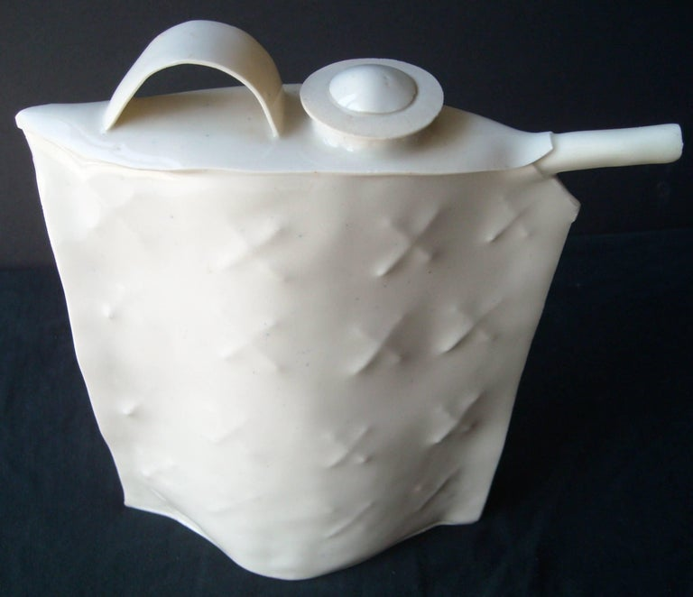 Philip Cornelius Porcelain or Teapot with Lid, Sculpture Signed Dated In Excellent Condition For Sale In Los Angeles, CA