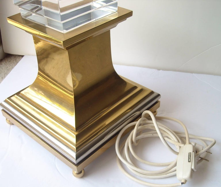 Modern Maison Jansen Lucite Obelisk Lamp by the Architect Sandro Petti For Sale