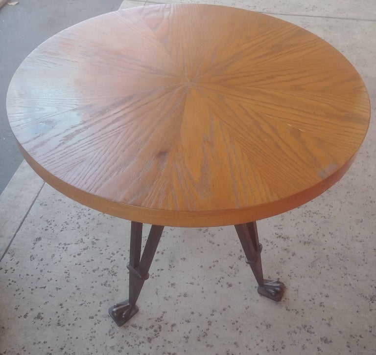 Unknown Andre Arbus Style Side, Occasional Table, Wrought Iron Base For Sale