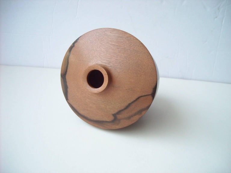Post-Modern Dan Kvitka Turned Wood Vessel, Bowl or Vase in Ebony Wood, Signed Dated For Sale