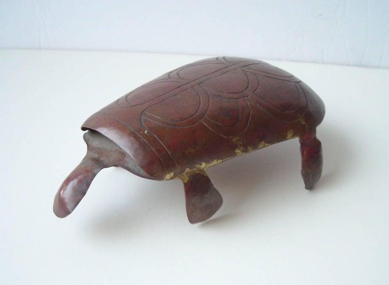Hand-Crafted Oswaldo Guayasamin Modernist Copper Tuttle Sculpture, Signed For Sale