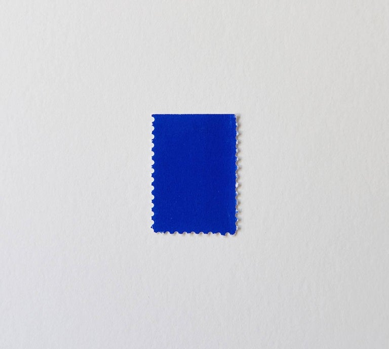 Effectively an Yves Klein painting in miniature, this stamp is from a series Klein made in 1957 by painting blocks of blank stamps with what was to become his famous signature, the patented blue pigment officially registered as IKB, or International