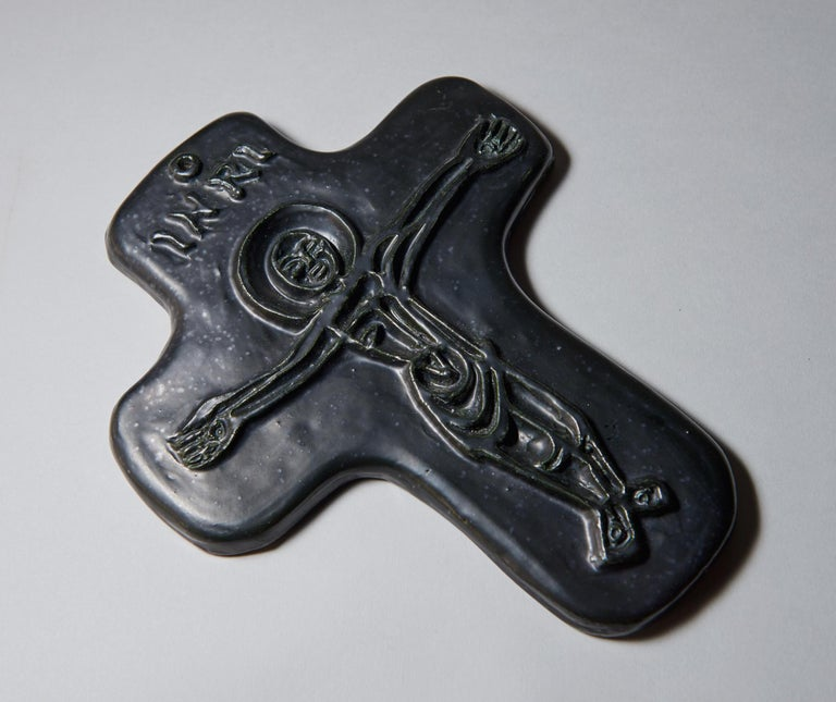 Glazed Crucifix by Georges Jouve For Sale