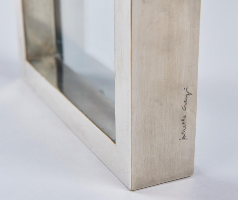 Modern Nickel-Plated Brass Frame / Mirror by Gabriella Crespi For Sale