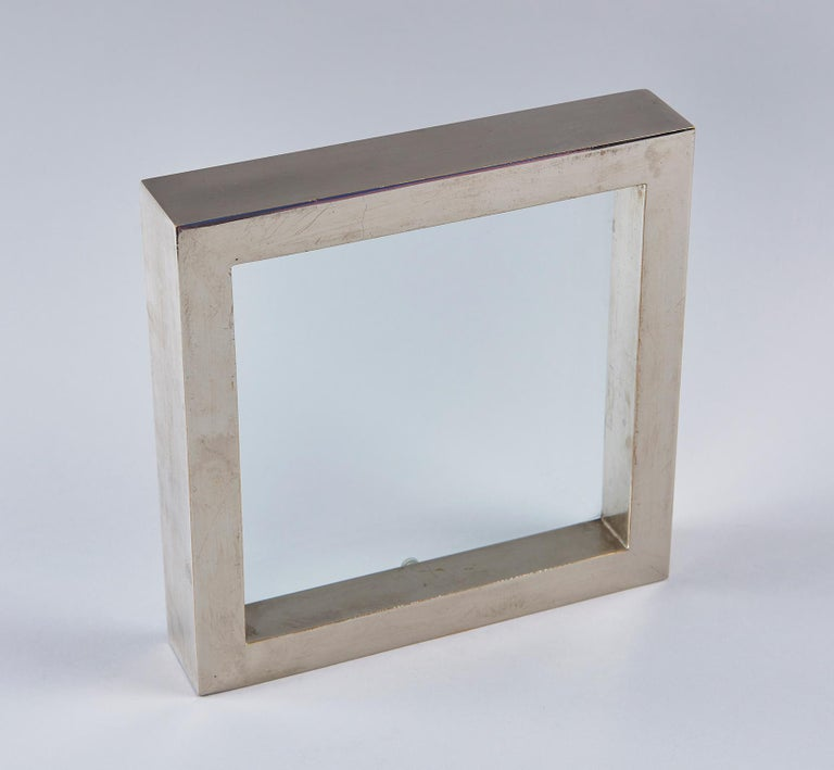 Late 20th Century Nickel-Plated Brass Frame / Mirror by Gabriella Crespi For Sale