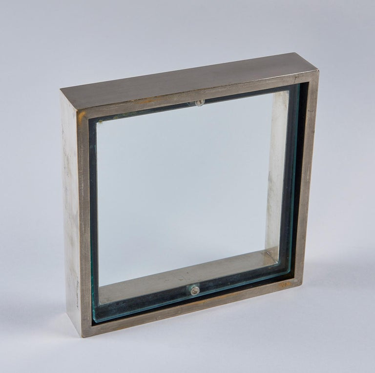 Nickel-Plated Brass Frame / Mirror by Gabriella Crespi For Sale 1