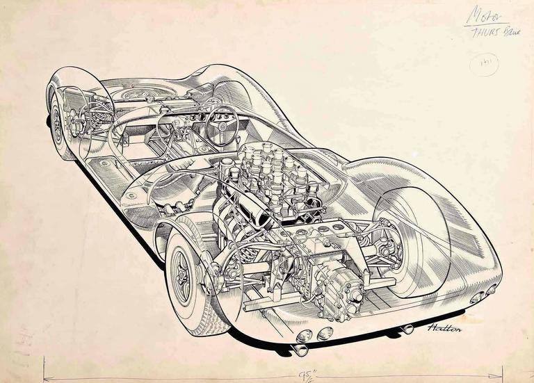 Brian Hatton's painstaking cutaway drawings won him acclaim as one of Britain's great technical artists. This meticulously detailed pen and ink drawing (on illustration board) of the beautiful but ill-fated Lotus 30 sports racing car is the original