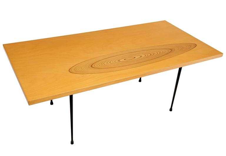 Scandinavian Modern Coffee Table with Inlaid Decoration by Tapio Wirkkala For Sale