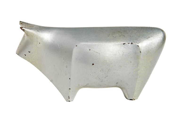 Iron 1939 Japanese Art Deco Okimono Figure of a Bull by Hiramatsu Koshun For Sale