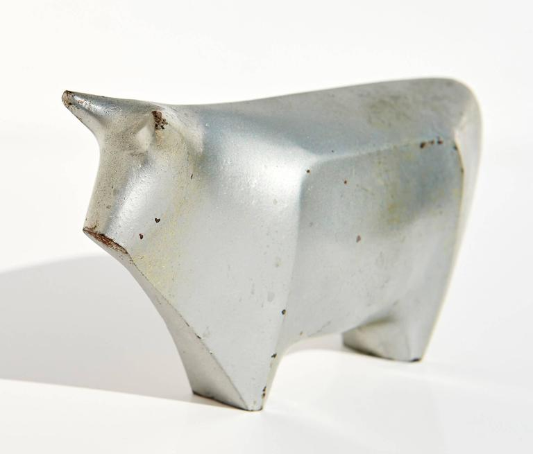 Enameled 1939 Japanese Art Deco Okimono Figure of a Bull by Hiramatsu Koshun For Sale