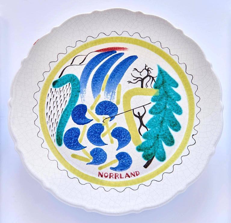 Glazed Set of Nine Hand-Painted Faience Dinner Plates by Stig Lindberg For Sale